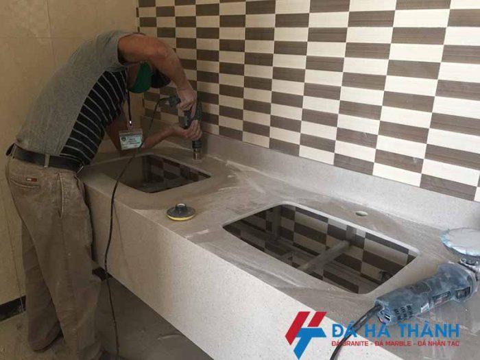 Thi công bàn đá lavabo đá nhân tạo nhà vệ sinh