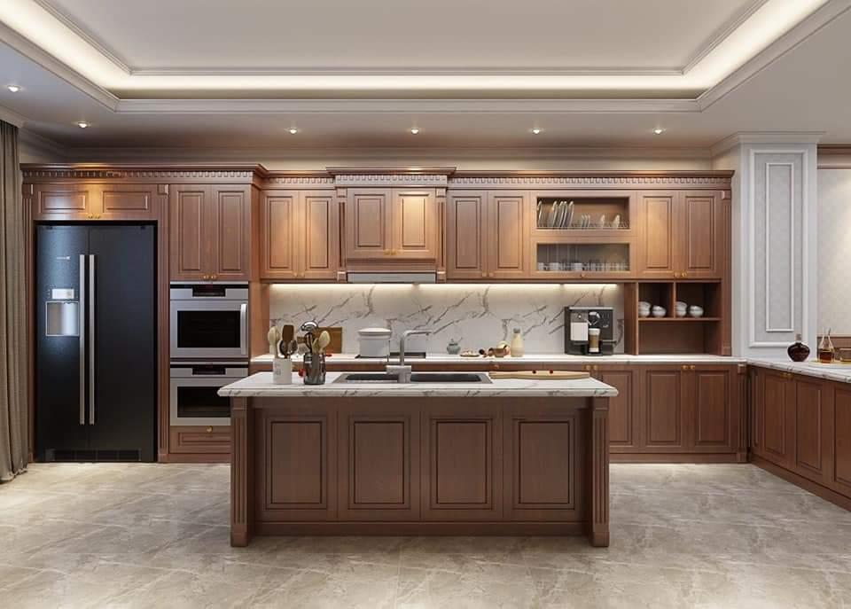 Mẫu bàn đảo bếp làm từ gỗ tự nhiên sang trọng, đẳng cấp