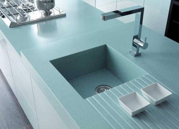 đá ốp bếp màu xanh