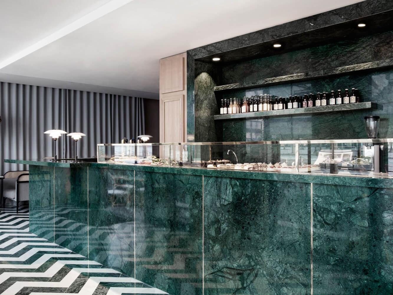 Đá marble xanh ốp bếp sang trọng
